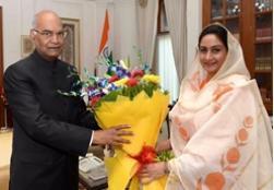 Hon'ble Minister FPI,Smt.Harsimrat Kaur Badal met with honourable President,Sh. Ramnath kovind ji and invited him for the closing ceremony of World Food India 2017